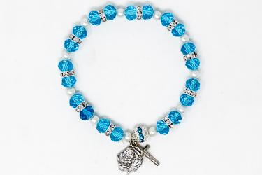 Blue Lourdes Apparition Medal Bracelet Miraculous Medal.