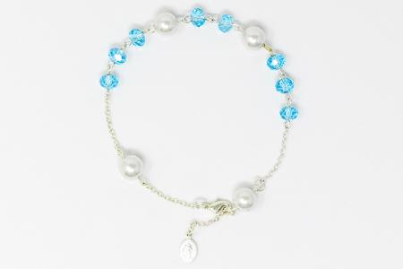 Miraculous Blue Crystal Rosary Bracelet.