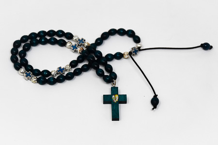 Green Wooden Lourdes Rosary Beads.