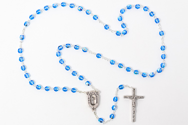 Lourdes Water Blue Rosary Beads
