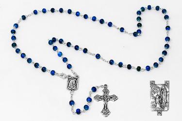 Blue Lourdes Rosary Beads.