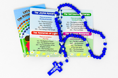 Blue Corded Wooden Rosary.