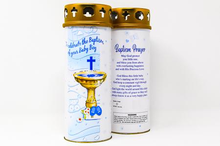 Boy's Baptism Pillar Candle.