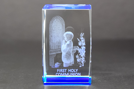 Boy's Communion Crystal Paperweight.