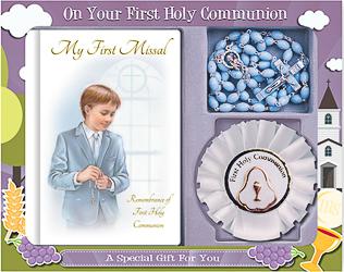 Boys First Holy Communion Rosette Gift Set.