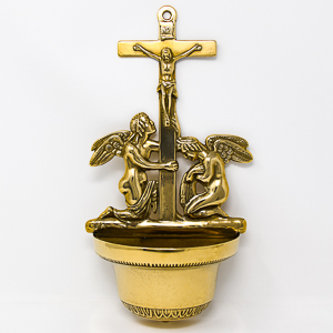 Brass Crucifixion with Angels Font.