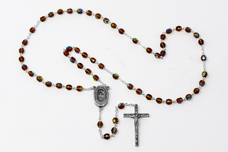 Brown Bohemia Lourdes Water Rosary Beads.