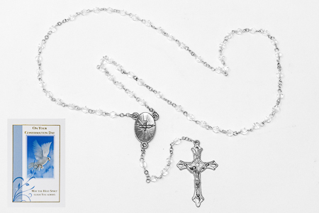 Confirmation Glass Heart Gold Rosary Beads.