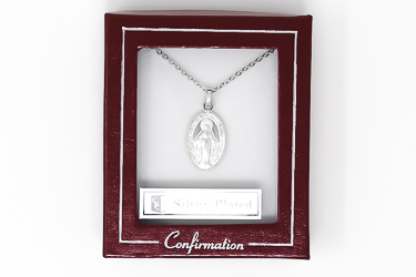 Silver Plated Miraculous Medal Necklace.