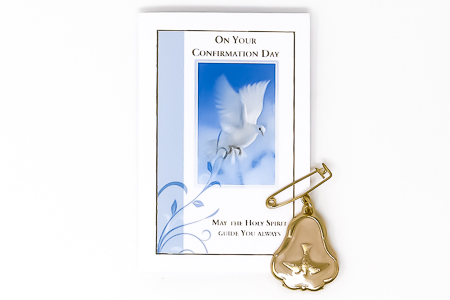 Confirmation Leaflet & Prayer with Pearl Brooch.