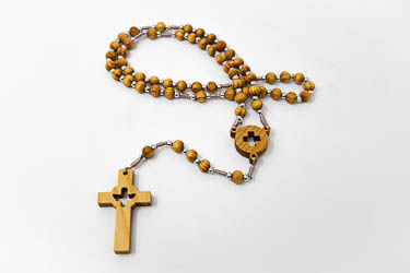 Corded Dove and Cross Rosary Beads.