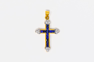 Solid Gold Crucifix Sapphire Pendant