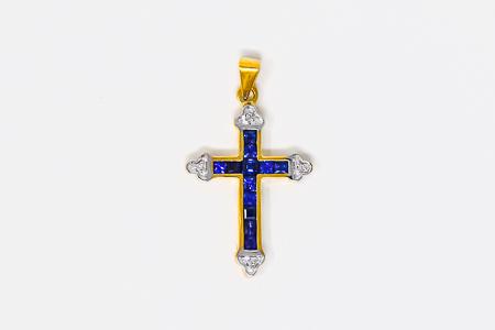 Solid Gold Crucifix Sapphire Pendant