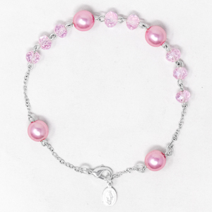 Miraculous Pink Crystal Rosary Bracelet.