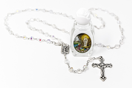 Rosary Beads & Lourdes Water.