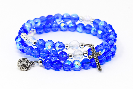 Blue Memory Wire Rosary Bracelet