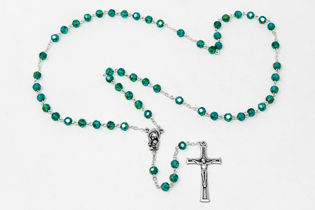 Mary & Baby Jesus Emerald Rosary Beads
