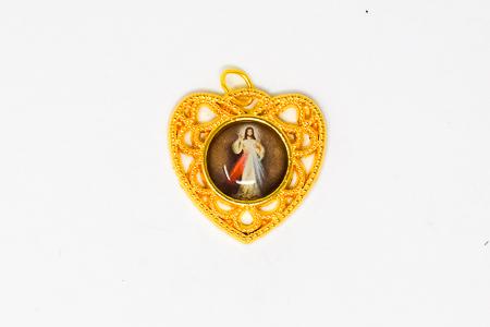 Divine Mercy Gold Heart Pendant.