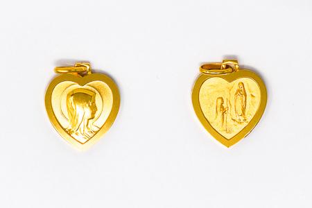 Heart Shaped Double Faced Lourdes Pendant.