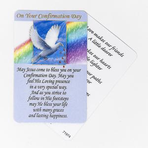 Laminated Dove Confirmation Card.