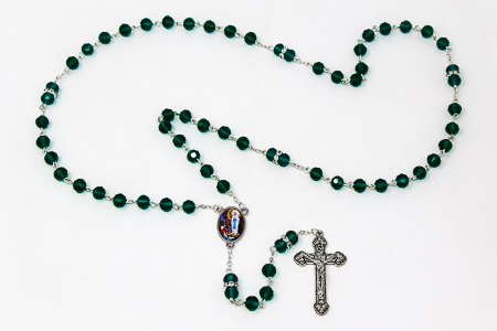 Green Crystal Rosary Beads.