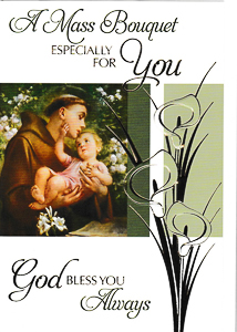 St Anthony Mass Card.