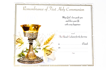 Certificate - First Holy Communion.