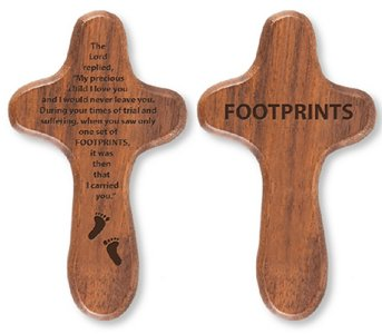 Footprints Holding Cross.