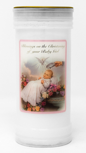 Girl's - Christening Pillar Candle.
