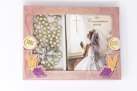 Girl's Communion Rosary & Prayer Book..