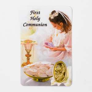 Girls First Holy Communion Prayer Card.