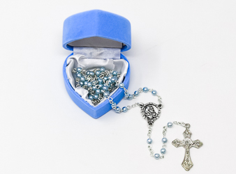 Glass Baby Blue Rosary Beads