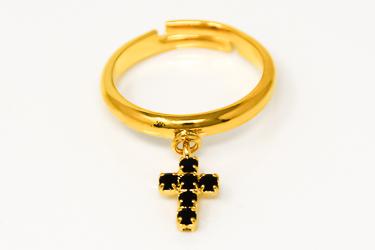 Hypoallergenic Gold Cross Ring.