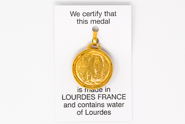Gold Apparition Lourdes Water Pendant.