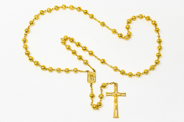 Lourdes Gold Rose Rosary Beads.