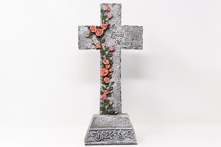 Standing Graveyard Cross Statue.
