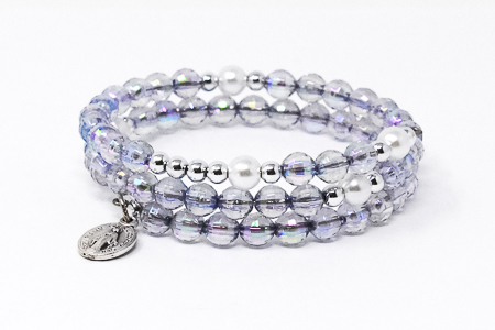 Gray Memory Wire Rosary Bracelet