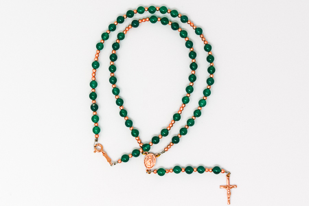 Green Agate Birthstone Rosary Necklace.