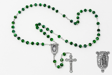Green Lourdes Water Rosary Beads.