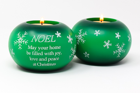 Green Nativity Candle Holder.