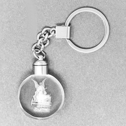 Laser Crystal Guardian Angel Key Ring