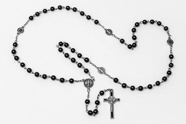 St Benedict Hematite Rosary.