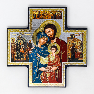 Holy Family Gold Foil Wall Cross Wall Plaque.