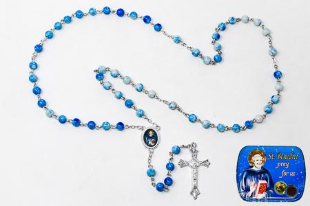 St Benedict Light Blue Rosary.