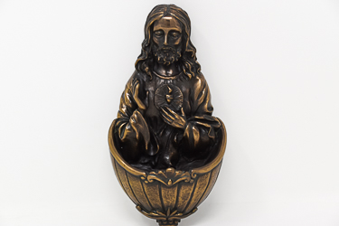 Sacred Heart of Jesus Bronze Font.
