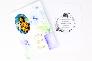 Joseph the Good Shepherd Get Well Prayer Card.