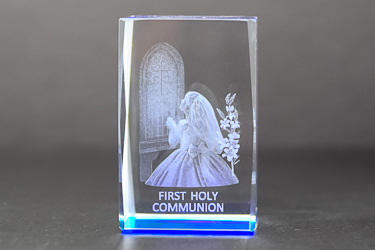 Girl's Communion Crystal Paperweight.