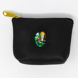 Leather Rosary Purse Black