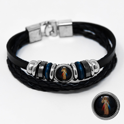 Leather Bracelet - Divine Mercy.