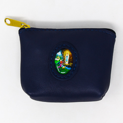 Leather Rosary Purse Blue